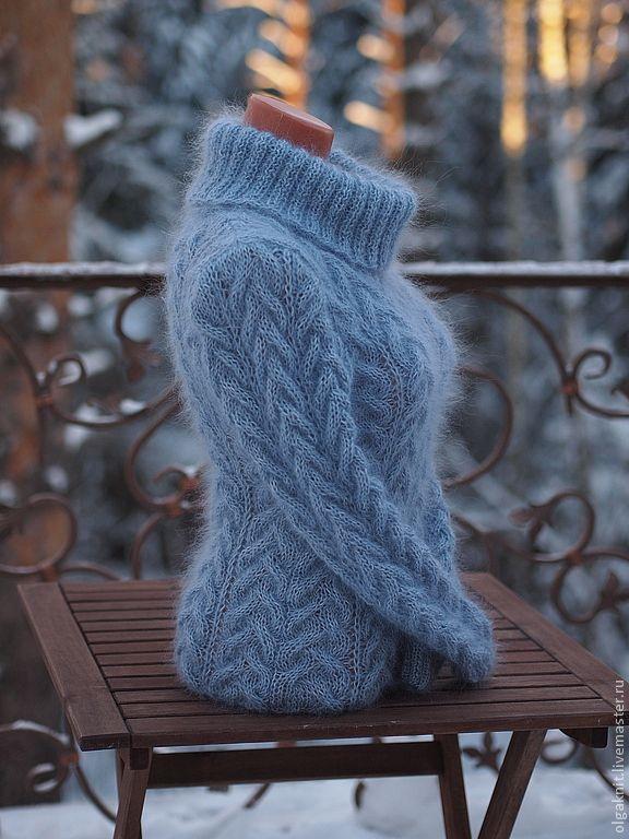 Купить свитер серо-голубой - голубой, женский свитер, свитер женский, теплый свитер