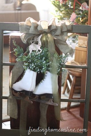 Vintage Christmas Window-I could do this! I have the window & skates already