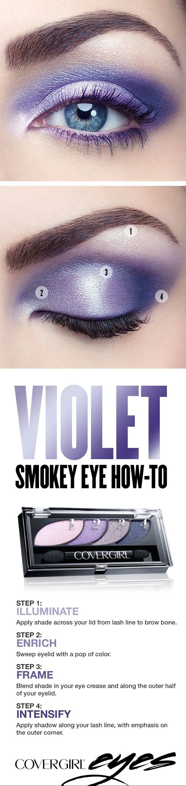 Try our simple step-by-step tutorial this holiday season for a dramatic violet smokey eye, featuring COVERGIRL Eyeshadow Quads in Va Va Violets. This makeup palette makes it easy to add shimmery color to your holiday look. Perfect for Christmas or New Year's Eve parties when you'd like to try something other than a standard black smokey eye. #eyeshadowsstepbystep