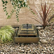 Smart Solar Water Feature - Stepped Slate Fountain