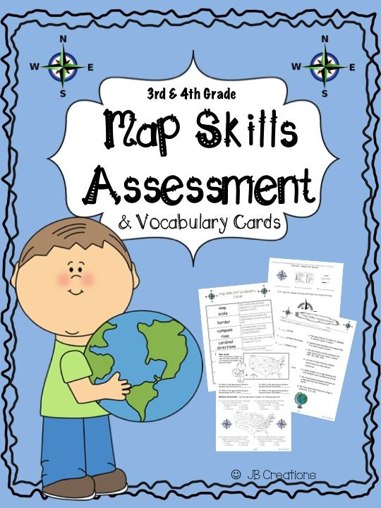 This assessment was created to test students' level of map skills in 4th grade social studies.  This 26 item assessment focuses on cardinal/intermediate directions, map scale, relative location, and map terminology.  A set of 7 vocabulary flashcards is also included. The assessment format includes multiple choice, short answers, and matching.  A complete answer key is included. http://www.teacherspayteachers.com/Product/4th-Grade-Social-Studies-Map-Skills-Assessment-Vocabulary-Cards-1473473