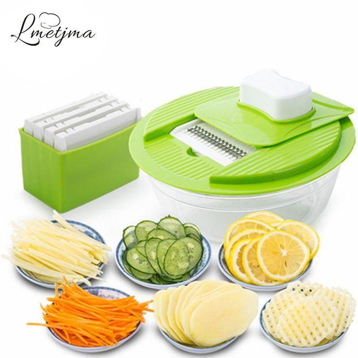 LMETJMA Mandoline Vegetable Slicer Dicer Fruit Cutter Slicer With 4 Interchangeable Stainless Steel Blades Potato Slicer Tool