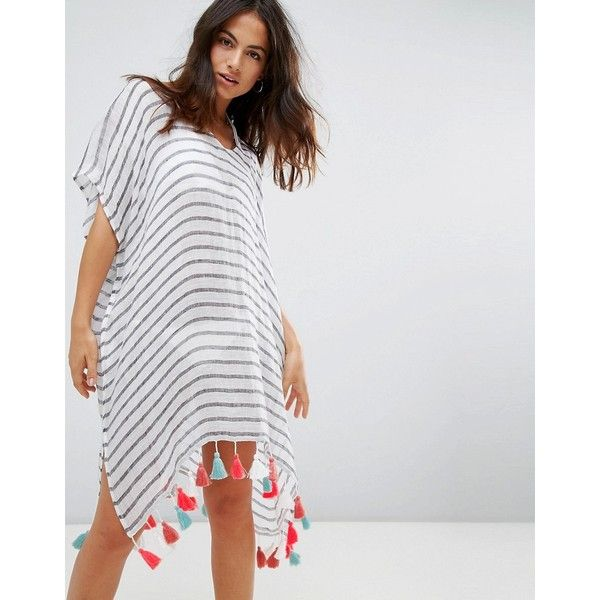 Seafolly Stripe Beach Caftan ($95) ❤ liked on Polyvore featuring swimwear, cover-ups, multi, striped one-piece swimsuits, beach cover ups, tall one piece swimsuit, swim suits and one piece bathing suits