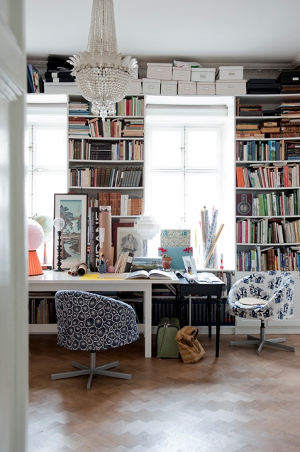 My office, love the shelving, desk, chandelier and chairs