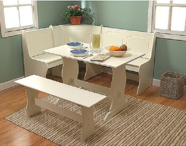 White Corner Breakfast Nook Dining Set Table Bench Kitchen Furniture Booth Seat #TMS #Traditional