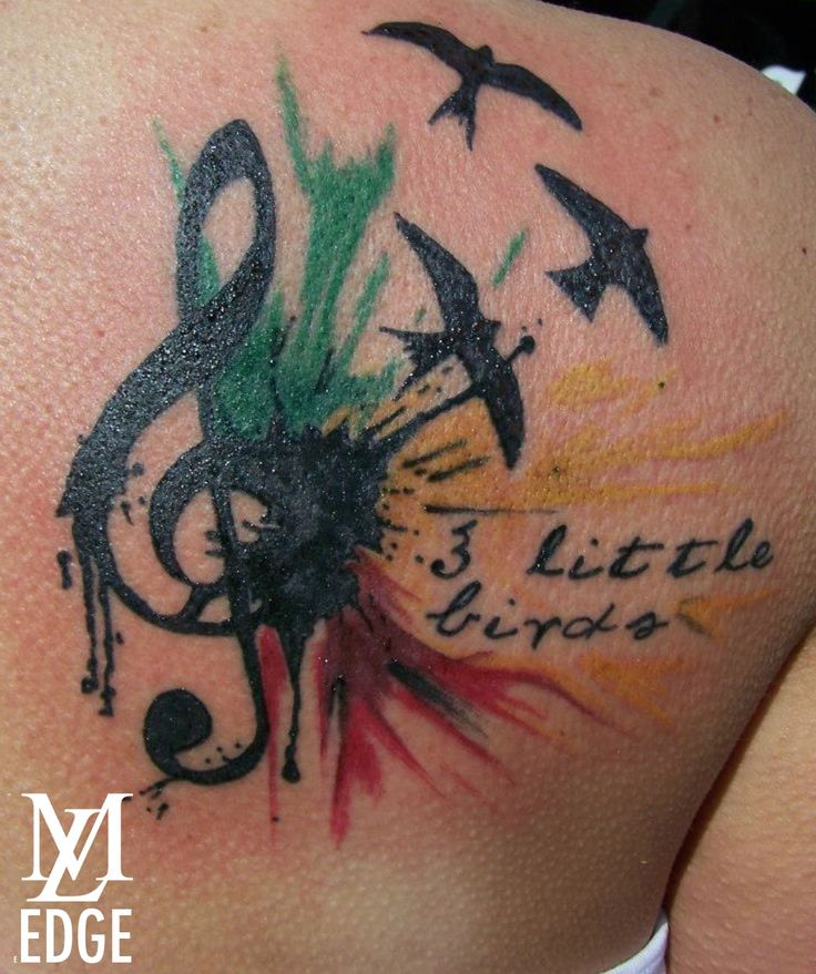 3 Little Birds Bob Marley Tattoo - Can just imagine this on a beautiful Rastafarian person