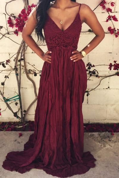 Lace Spliced Open Back Maxi Dress WINE RED: Maxi Dresses | ZAFUL