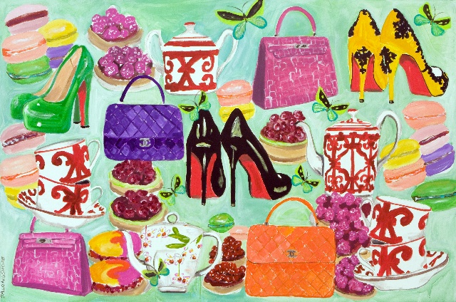"""Laboutin Shoes Chanel and Birkin all part of """"Trophy Wife Picnic"""" 48""""x72"""" Sarah Ashley Longshore, Acrylic on Canvas"""