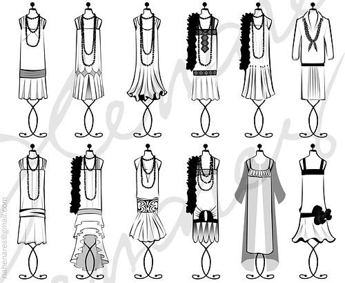 1920s sillhouette ideas for Bridesmaids