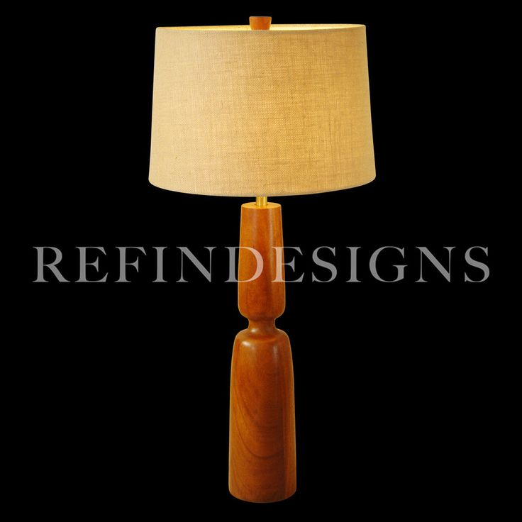 MONUMENTAL MARSHALL STUDIOS ATOMIC MODERN SCULPTURAL TEAK TABLE LAMP MARTZ '50s