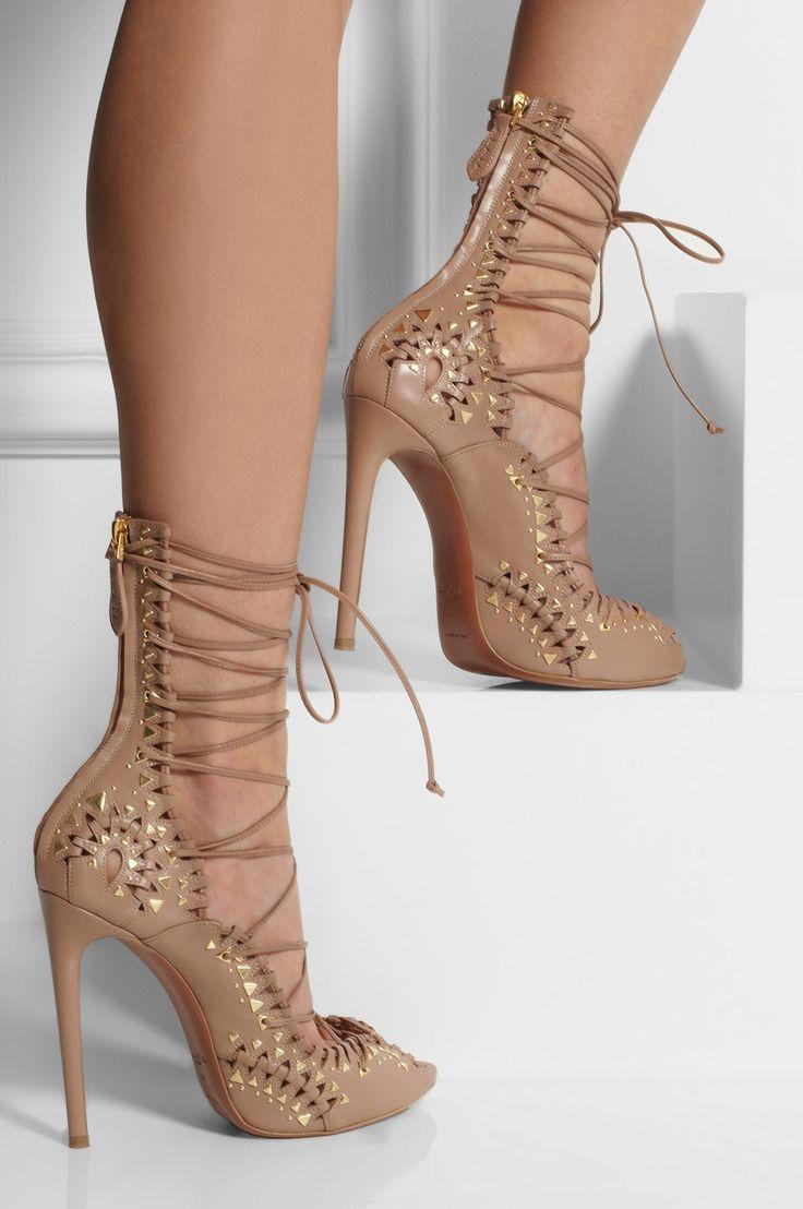 Alaïa Studded Lace-up Leather Sandals on Net-a-Porter