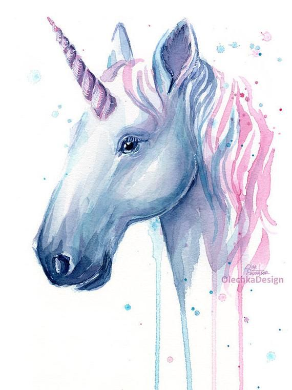 Unicorn Art Print Watercolor Unicorn Unicorn Painting Blue