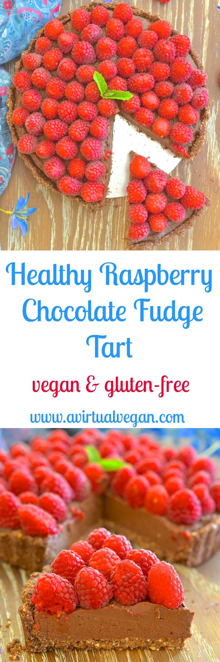 Want a dessert that looks & tastes decadent but is secretly healthy? I've got you covered with my decadent but Healthy Raspberry Chocolate Fudge Tart. via @avirtualvegan