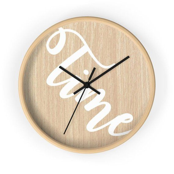 Modern Quot Time Quot Wall Clock Minimalistic Design Wall Clock On Wooden Background Scandinavia Wall Design Scandinavian Clocks Wall Clock