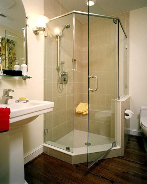 Corner Shower Saves Space