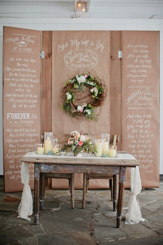 rustic country wedding sweetheart table / http://www.deerpearlflowers.com/rustic-country-kraft-paper-wedding-ideas/