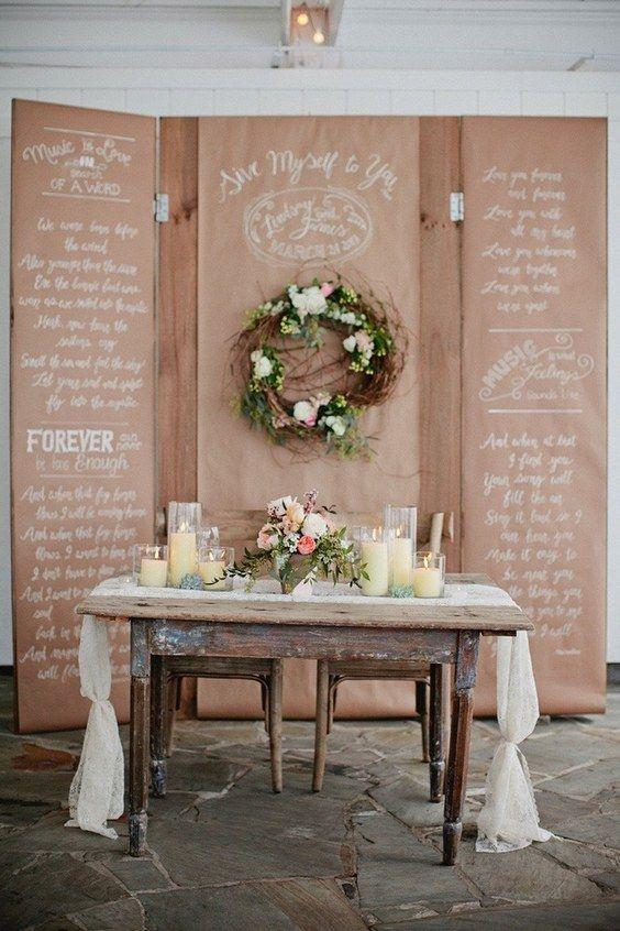 rustic country wedding sweetheart table / http://www.deerpearlflowers.com/rustic-country-kraft-paper-wedding-ideas/