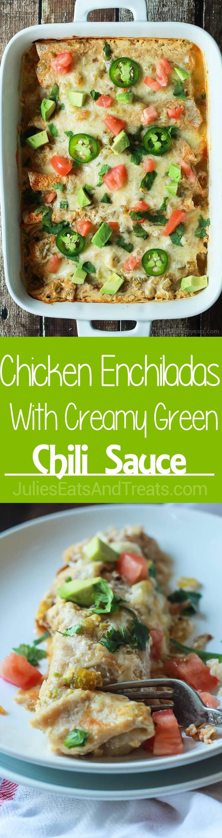 Chicken Enchiladas topped with a Creamy Green Chili Sauce made with Greek Yogurt and spicy green chilis! An easy weeknight meal that will beat going out to eat any day of the week!  via @julieseats