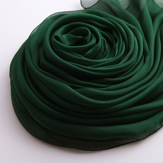 Noir vert mousseline de soie foulard en soie foulard par RobePlus