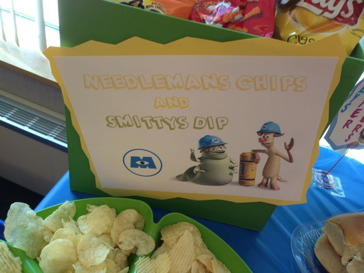 Monsters, Inc birthday party food sign. Needlman's Chips and Smitty's ...