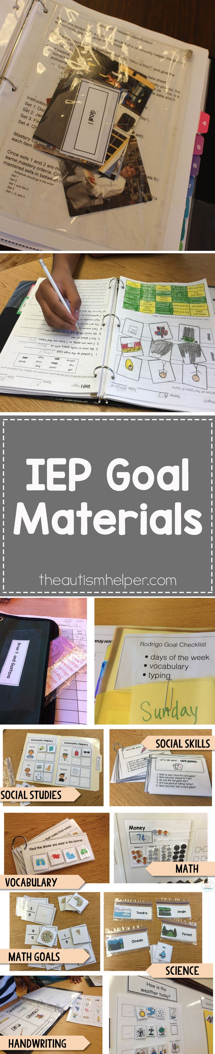 Your beautiful list of IEP goals likely requires a decent amount of materials to target those goals. It can feel like a daunting task now, but once you make materials you will have these resources forever. It will come full circle I promise! From theautismhelper.com