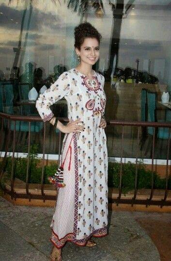 Kangana in Long kurta+long Skirt..