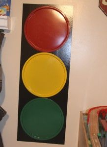 Pizza pan magnetic stop light...could use for behavioral changes, points for a toss game