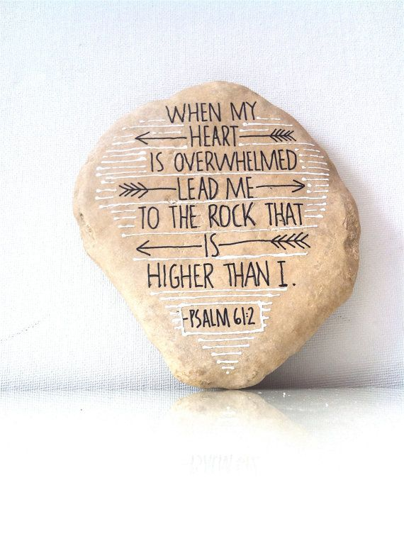 Hand Scripted River Stone Black and White Painted by FizzFinds, $29.00