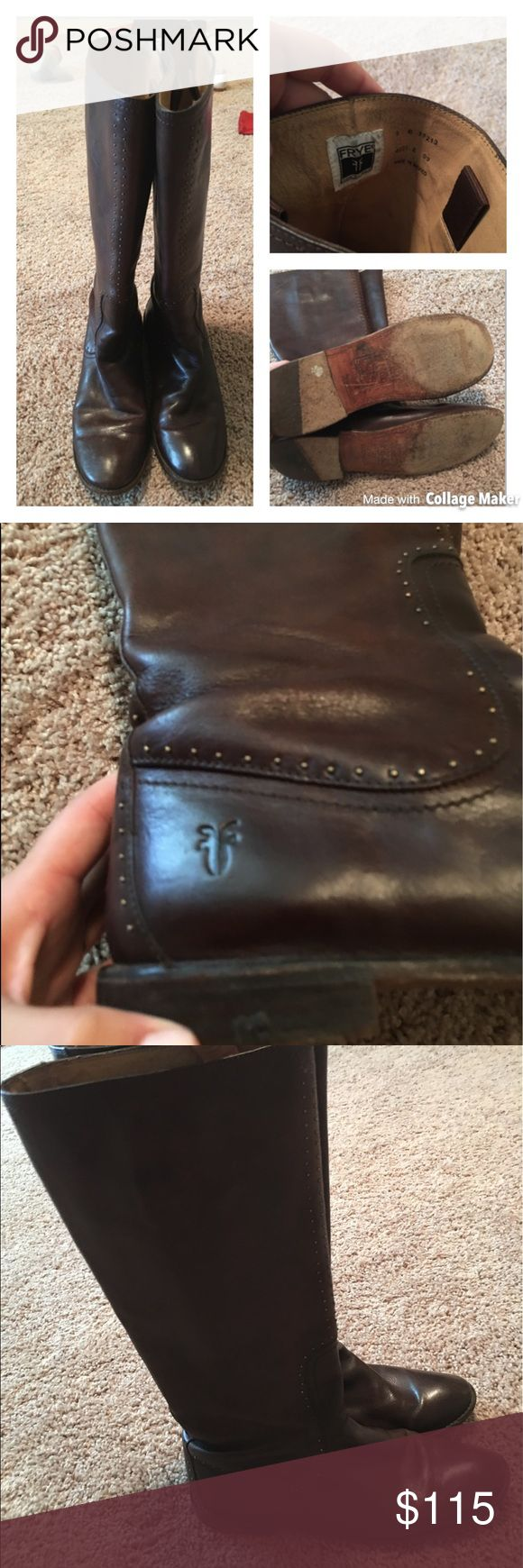 Frye Paige Mini Studded Boots GUC These don't come with a box.  They are from a smoke free environment.  They are a dark brown color.  They have small studs around the back.  They are pull on boots. Frye Shoes