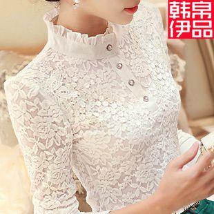 Kore uzun kollu şifon gömlek yaka gömlek vahşi beyaz gömlek dantel gömlek dip gömlek 2016 bahar yeni kadın