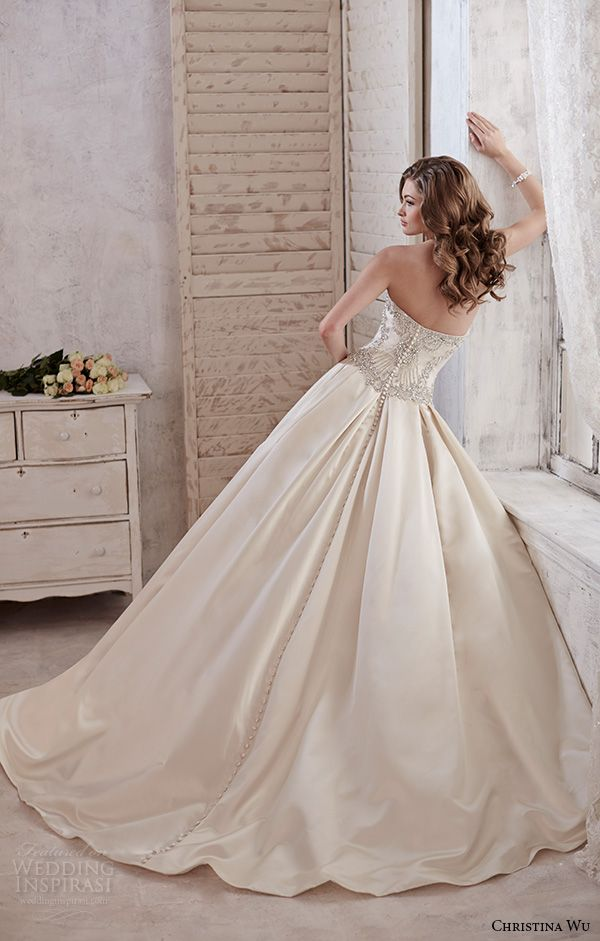 christina wu wedding dresses 2015 strapless sweetheart neckline beaded bodice satin champagne wedding ball gown dress 15581 back view