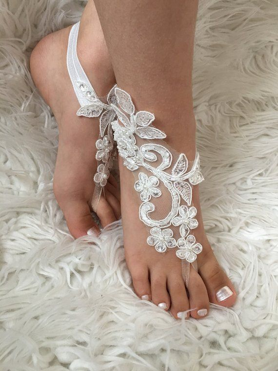 f7be48609d2c 🌸FLOWER GIRL BAREFOOT SANDALS 7 year-old girl in the picture 5 COLORS    Ivory- White- Pink- Blue- Champagne ➡️This gorgeous lace flower girls  barefoot ...