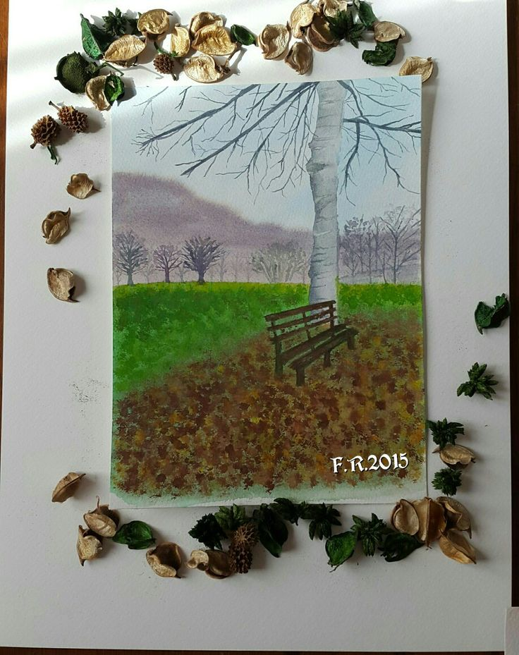 My Original Watercolor by Francesca Rocchi - North Italy, Autumn - Autunno, Acquerello