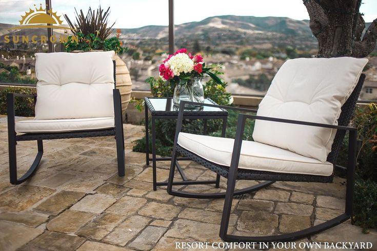 Garden Patio Set Black Wicker Furniture for Outdoor Pool Back Yard Chairs Table  #GardenPatioSetBlackWickerFurniture