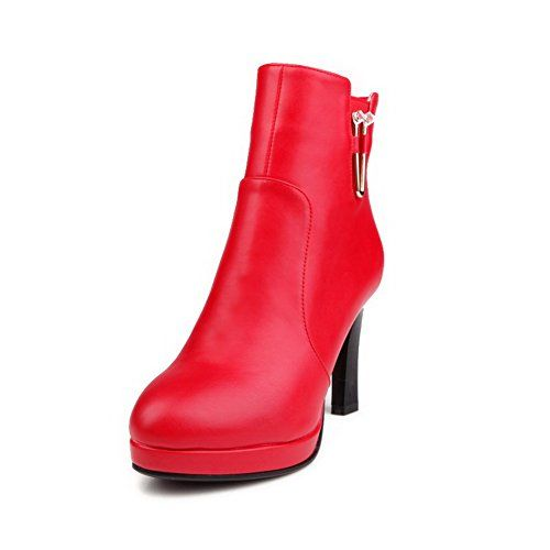Women's High-Heels Pointed Closed Toe Imitated Suede Low-Top Solid Zipper Boots Red-Chains 39