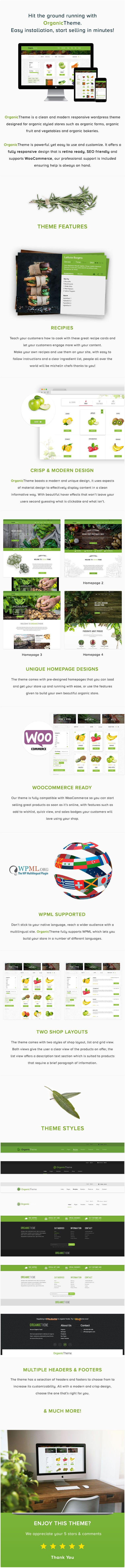 Organic theme is a clean modern responsive wordpresstheme for organic styled stores organic farms and foodstores.