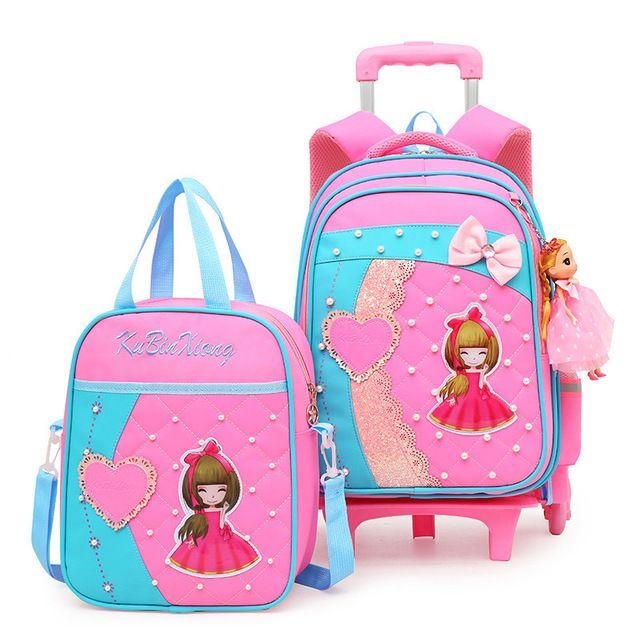 School Backpack Children Trolley Backpack School Bags Grils boys Wheeled Student Detachable Rolling Backpacks Trolley schoolbags travel Mochila