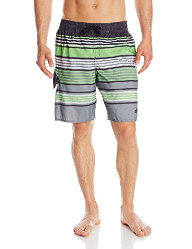 Adidas Men's Textured-Stripe Volley Swim Trunk Variegated-stripe swim short  featuring side-seam pockets, side flap pocket, and logo at left leg opening  ...