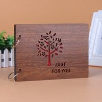 8 InchesDiy Wooden Photo Album Scrapbooking Homemade Photo Books Loose Leaf Albums Creative Gift for Couple/ Family