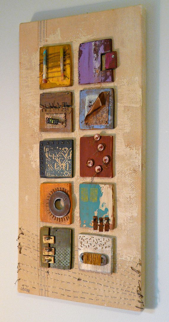 Abstract 3D Art Assemblage with Found Objects by MatangaBay in Etsy. | DIY inspiration for wall art.