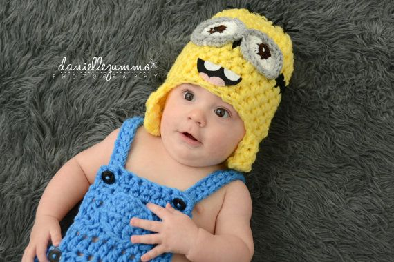 DESPICABLE ME MINION chapeau bébé enfant adulte nouveau-né Earflap sbires Photo Prop dave stuart tim photographie 0-3 3-6, 6-12, 12-24