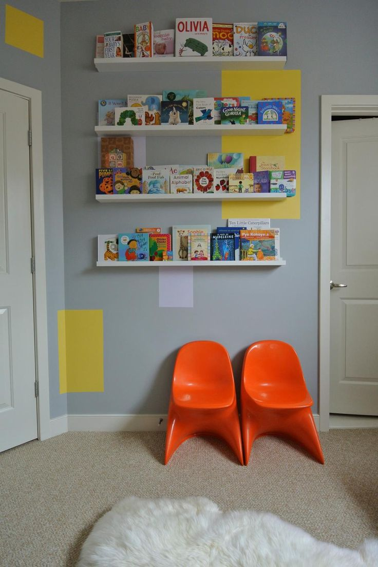 Children's book covers are such works of art, why not display them as such, rather than tossing them in a pile or placing them so that only the spine shows? Narrow shelves that allow you to display books with the cover out add pops of bright color and interest, helping children make that all-important decision about what story to read before they go to sleep.