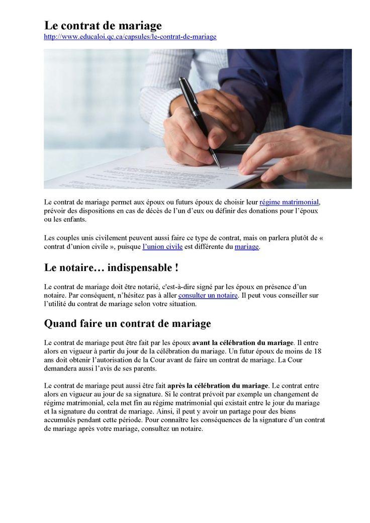 Le contrat de mariage au QC infos_Page1