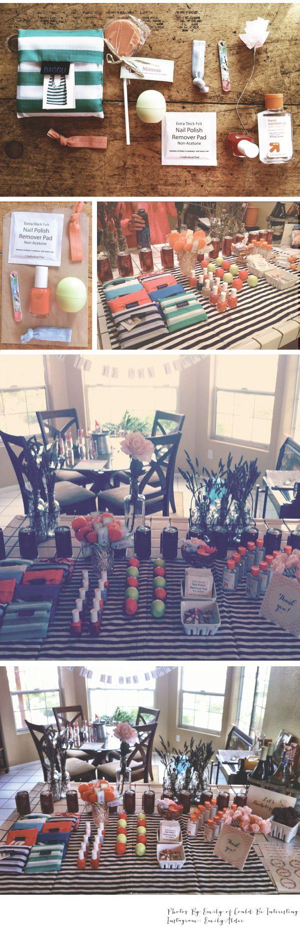 DIY Bachelorette Goodie Bags. BAGGU bags, mimosa lollipops, paper flowers, essie nail polish and more