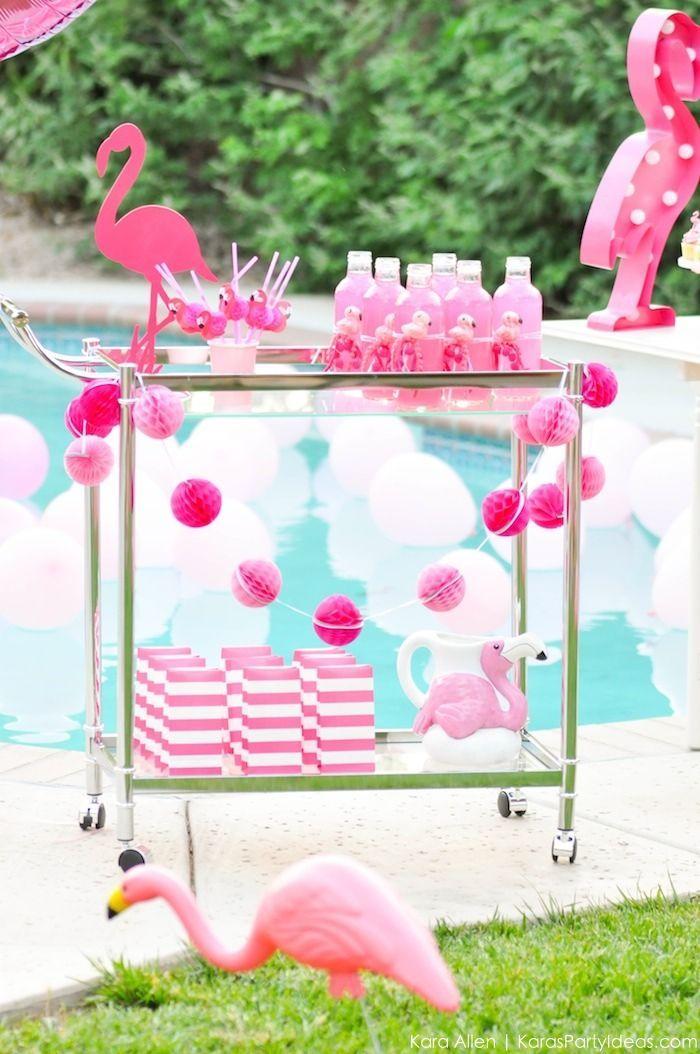 Flamingo drink cart at a pink flamingo Pool + Art Birthday Party by Kara Allen
