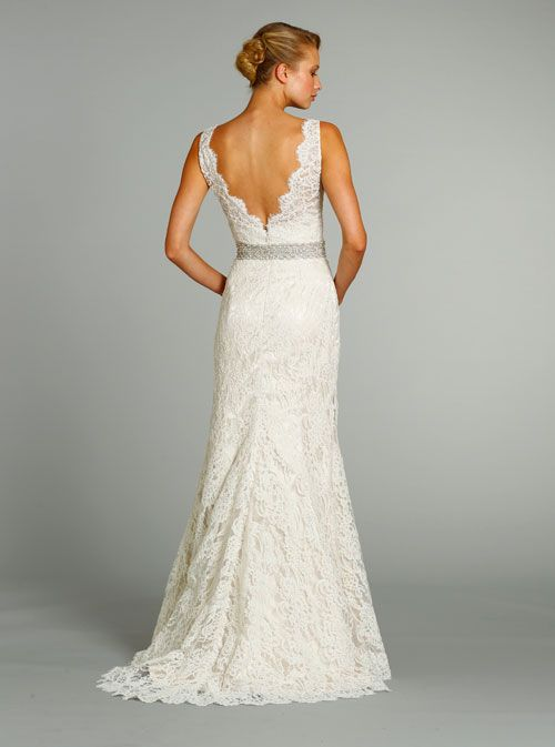 Jim Hjelm Ivory Alencon Lace over Champagne Charmeuse Modified A-line bridal gown, V-neckline front and back, accented with Crystal embroidered belt. Back View