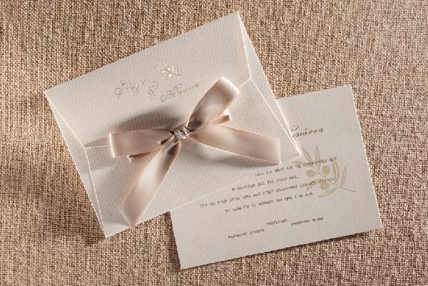 Πρόσκληση γάμου με την ελιά και κλασσικό φάκελο-μύτη με κορδέλα