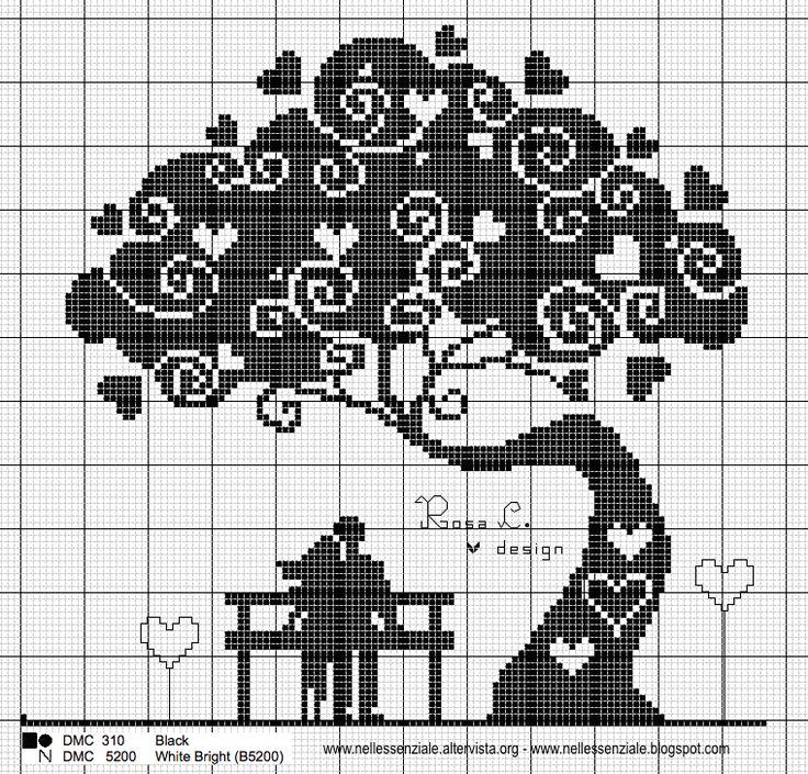 Schema punto croce: L'albero dei cuori