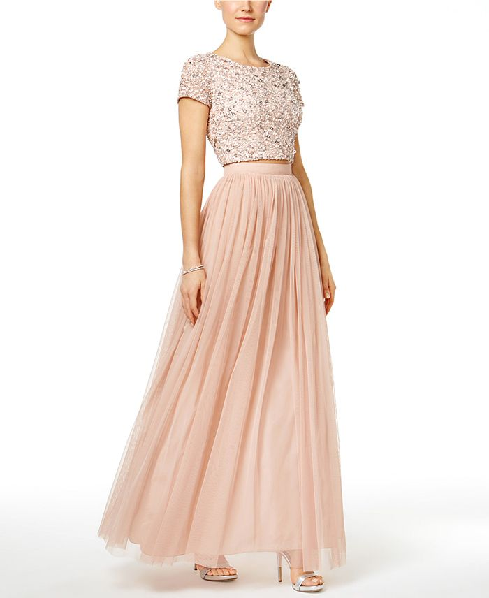 Sequin Crop Top Bridesmaid Dress with a Blush Tulle Skirt