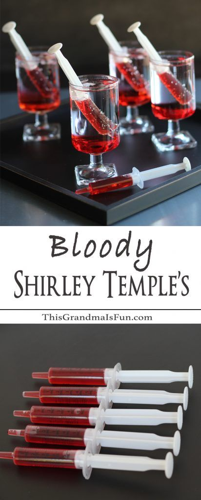 If you are like our family you can't get enough of Halloween! Put some Grenadine in a syringe and turn a Shirley Temple drink from an old classic to a very cool, creepy Halloween drink. While some kids may get grossed out about the syringes filled with pr